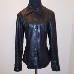Vtg Anonymous John Carlisle Black Leather Coat
